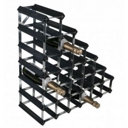 RTA 27 Bottle Under Stairs Wine Rack Assembled Black Ash Finish